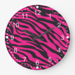 Trendy Hot Pink Fuchsia Black Zebra Stripes Print Wall Clocks
