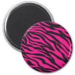 Trendy Hot Pink Fuchsia Black Zebra Stripes Print Refrigerator Magnet