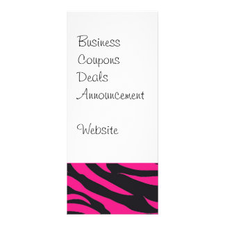 Trendy Hot Pink Fuchsia Black Zebra Stripes Print Rack Card
