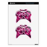 Trendy Hot Pink Fuchsia Black Zebra Stripes Print Xbox 360 Controller Skins