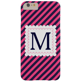 Trendy Hot Pink Navy Blue Stripes Custom Monogram Barely There iPhone 6 Plus Case