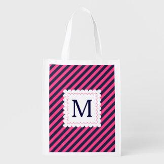 Trendy Hot Pink Navy Blue Stripes Custom Monogram Grocery Bag