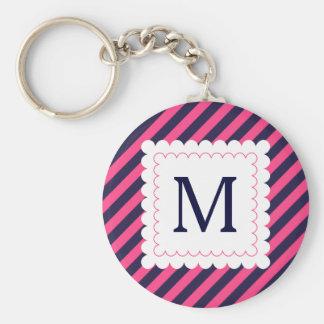 Trendy Hot Pink Navy Blue Stripes Custom Monogram Keychain