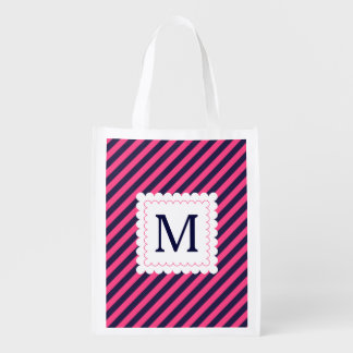 Trendy Hot Pink Navy Blue Stripes Custom Monogram Reusable Grocery Bag