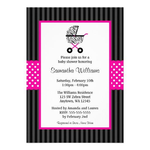 Trendy Hot Pink Zebra Carriage Baby Shower Custom Invite