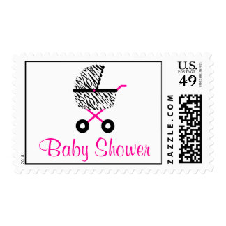 Trendy Hot Pink Zebra Carriage Baby Shower Postage