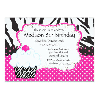 Trendy Hot Pink & Zebra Cupcake Birthday Party 5x7 Paper Invitation Card