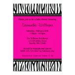 Trendy Hot Pink Zebra Girl Baby Shower Invitations