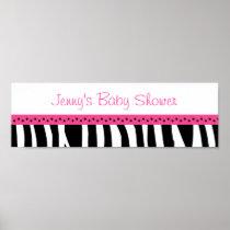 Trendy Hot Pink Zebra Print Banner Sign