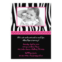 Trendy Hot Pink Zebra Print Birthday Invitations
