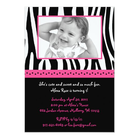 Pink Zebra Print Girls 1st Birthday Invitation: Trendy Hot Pink Zebra Print Birthday Invitations