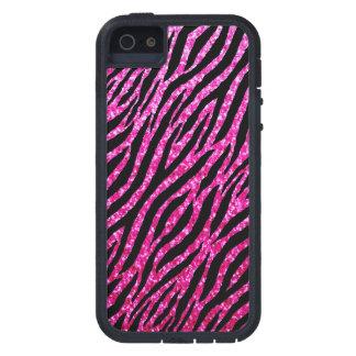Trendy Hot Pink Zebra Print Glitz Glitter Sparkles Case For iPhone SE/5/5s