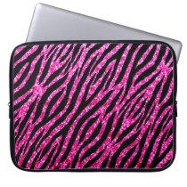 Trendy Hot Pink Zebra Print Glitz Glitter Sparkles Computer Sleeve