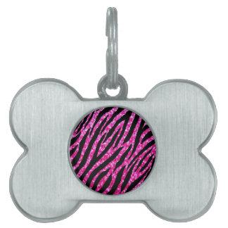 Trendy Hot Pink Zebra Print Glitz Glitter Sparkles Pet ID Tag