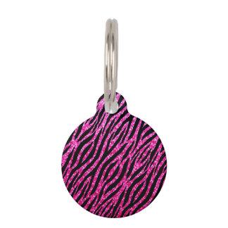 Trendy Hot Pink Zebra Print Glitz Glitter Sparkles Pet Name Tag