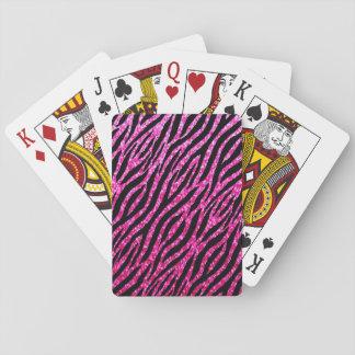 Trendy Hot Pink Zebra Print Glitz Glitter Sparkles Poker Cards