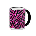 Trendy Hot Pink Zebra Print Glitz Glitter Sparkles Ringer Coffee Mug