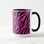 Trendy Hot Pink Zebra Print Glitz Glitter Sparkles Ringer Mug