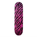 Trendy Hot Pink Zebra Print Glitz Glitter Sparkles Skateboard