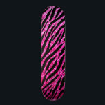 """Trendy Hot Pink Zebra Print Glitz Glitter Sparkles Skateboard<br><div class=""""desc"""">A trendy and modern hot pink animal pattern skateboard with a glitzy glam zebra print with sparkles,  sure to bring out the fashionista in any girly girl! Flat printed image,  not actual glitter.</div>"""