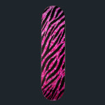 "Trendy Hot Pink Zebra Print Glitz Glitter Sparkles Skateboard<br><div class=""desc"">A trendy and modern hot pink animal pattern skateboard with a glitzy glam zebra print with sparkles,  sure to bring out the fashionista in any girly girl! Flat printed image,  not actual glitter.</div>"