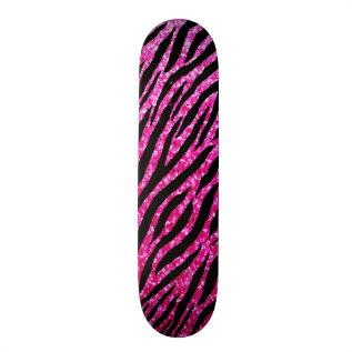 Trendy Hot Pink Zebra Print Glitz Glitter Sparkles Skateboard at Zazzle