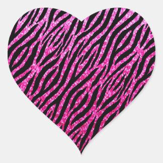 Trendy Hot Pink Zebra Print Glitz Glitter Sparkles Heart Sticker