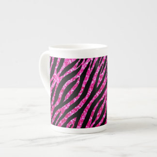 Trendy Hot Pink Zebra Print Glitz Glitter Sparkles Tea Cup