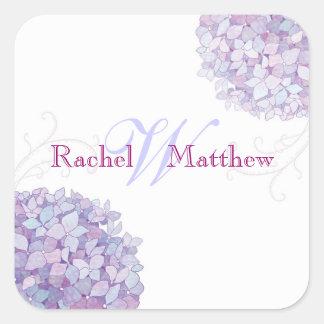 Trendy Hydrangea Wedding Couple Monogram Stickers