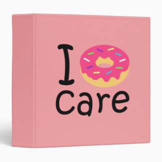 Trendy I Donut Care funny phrase quote emoji 3 Ring Binder