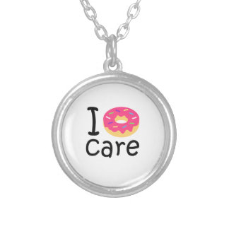 Trendy I Donut Care funny phrase quote emoji Silver Plated Necklace
