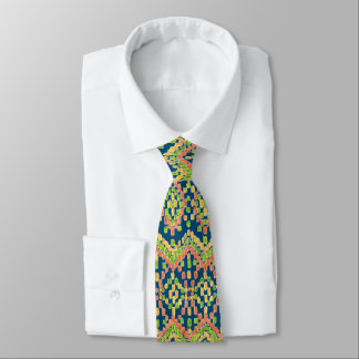 Trendy Ikat Colorful Ethnic Pattern on Blue Neck Tie
