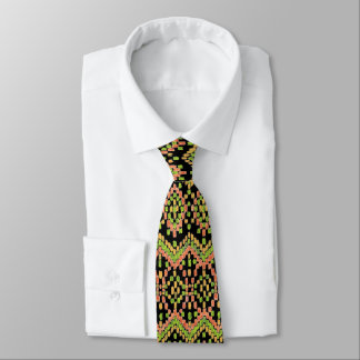 Trendy Ikat Ethnic Pattern on Black to Customize Tie