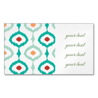 trendy,ikat,ogee,sommer colours,pattern,girly,chic magnetic business card