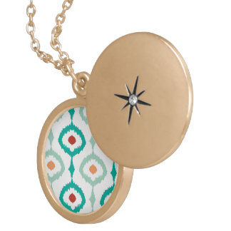trendy,ikat,ogee,sommer colours,pattern,girly,chic round locket necklace