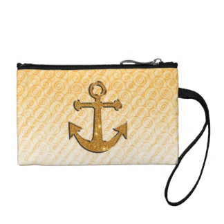 Trendy Image of Gold Glitter Anchor on Stripes Coin Purses
