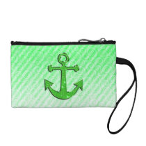 Trendy Image of Green Glitter Anchor on Stripes Coin Purse