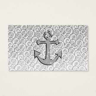 Trendy Image of White Glitter Anchor on Stripes Business Card