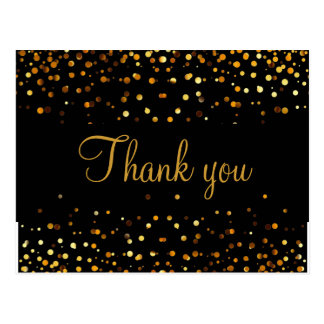 Trendy Inexpensiv Gold Glitter Black Thank You Postcard