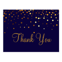 Trendy Inexpensiv Gold Glitter Blue Thank You Postcard