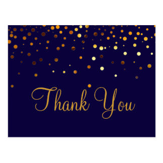 Trendy Inexpensiv Gold Glitter Blue Thank You Postcard