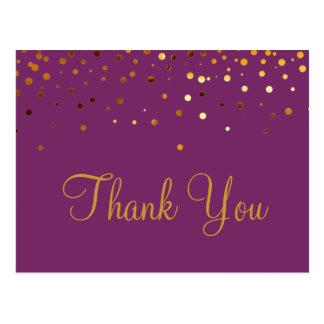 Trendy Inexpensiv Gold Glitter Purple Thank You Postcard