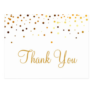 Trendy Inexpensiv Gold Glitter White Thank You Postcard