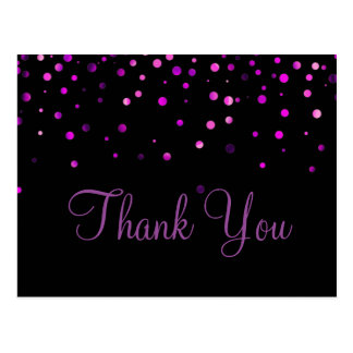 Trendy Inexpensiv Purple Glitter Black Thank You Postcard