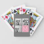 Trendy Instagram Photo Collage Custom Monogram Bicycle Playing Cards