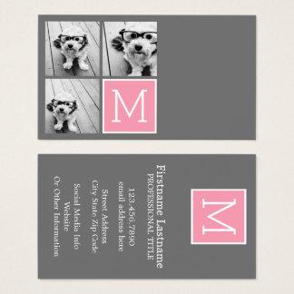 Trendy Instagram Photo Collage Custom Monogram Business Card