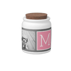 Trendy Instagram Photo Collage Custom Monogram Candy Jar at Zazzle