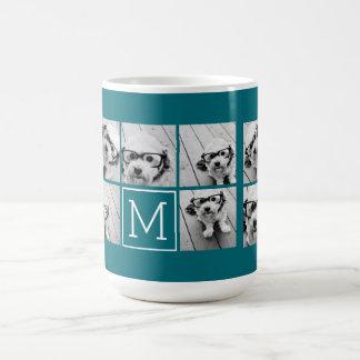 Trendy Instagram Photo Collage Custom Monogram Coffee Mug