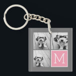"Trendy Instagram Photo Collage Custom Monogram Keychain<br><div class=""desc"">Modern Pastel Pink and Gray - Use 3 square photos to create a unique and personal gift. Or you can keep the hipster puppy and make a trendy keepsake. If you need to adjust the pictures,  click on the customize tool to make changes.</div>"
