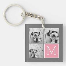Trendy Instagram Photo Collage Custom Monogram Keychain